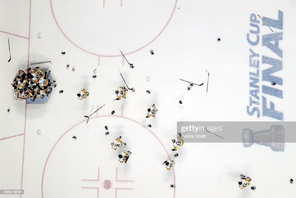 The Pittsburgh Penguins celebrate their, 2-0, win over the Nashville Predators to win the 2017 Stanley Cup in Game Six of the 2017 NHL Stanley Cup Final at the Bridgestone Arena on June 11, 2017 in Nashville, Tennessee.