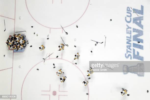 The Pittsburgh Penguins celebrate their 20 win over the Nashville Predators to win the 2017 Stanley Cup in Game Six of the 2017 NHL Stanley Cup Final...