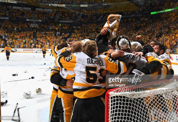 The Pittsburgh Penguins celebrate winning the Stanley Cup after they defeated the Nashville Predators 20 in Game Six of the 2017 NHL Stanley Cup...