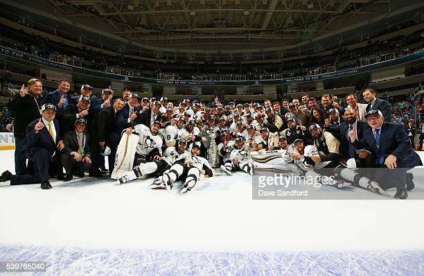 The Pittsburgh Penguins celebrate with the Stanley Cup after their 31 win over the San Jose Sharks in Game 6 of the 2016 NHL Stanley Cup Final at SAP...