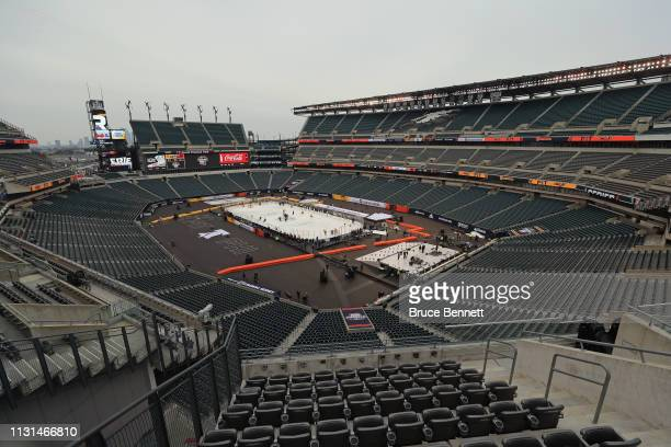 The Pittsburgh Penguins hold a practice session prior to Saturday's 2019 Coors Light NHL Stadium Series game at the Lincoln Financial Field on...