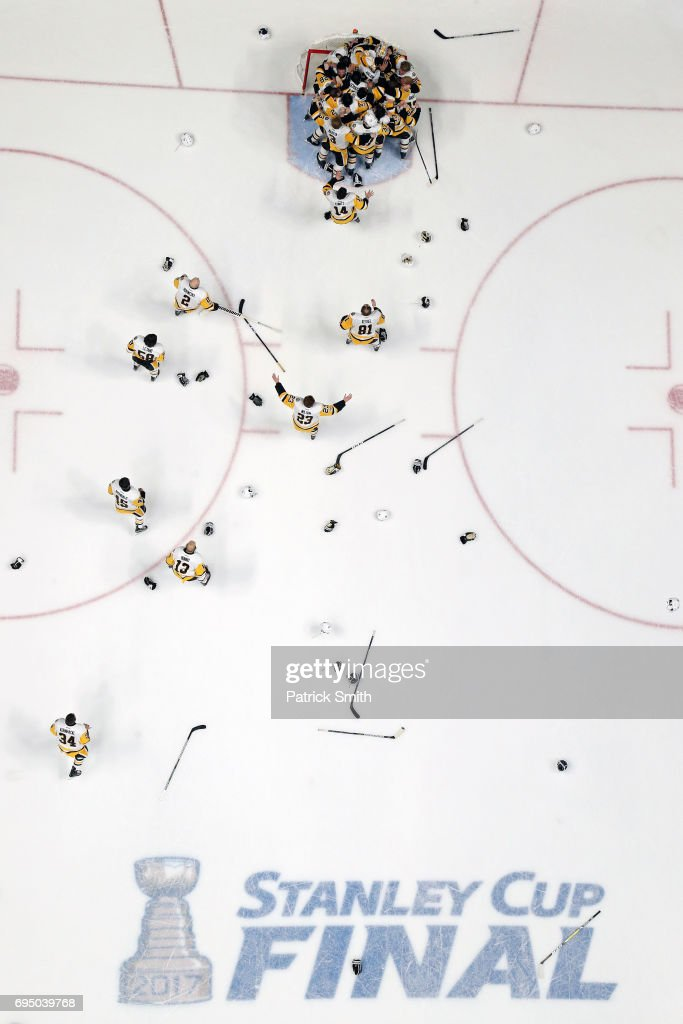 The Pittsburgh Penguins mob goalie Matt Murray #30 as they celebrate their, 2-0, win over the Nashville Predators to win the 2017 Stanley Cup in Game Six of the 2017 NHL Stanley Cup Final at the Bridgestone Arena on June 11, 2017 in Nashville, Tennessee.