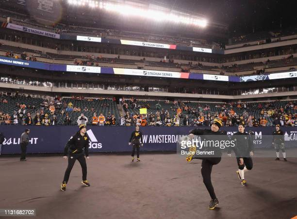 The Pittsburgh Penguins play soccer prior to the game against the Philadelphia Flyers during the 2019 Coors Light NHL Stadium Series game at the...