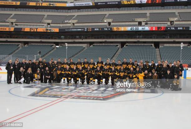 The Pittsburgh Penguins pose for a team photo in advance of Saturday's 2019 Coors Light NHL Stadium Series game at the Lincoln Financial Field on...