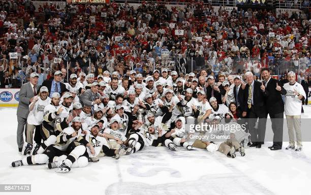 The Pittsburgh Penguins pose for their team photo with the Stanley Cup after defeating the Detroit Red Wings 21 in Game Seven of the 2009 Stanley Cup...