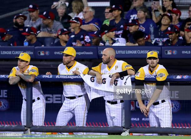 The Pittsburgh Pirates bench looks on in the fifth inning against the Chicago Cubs during the MLB Little League Classic at Bowman Field on August 18...