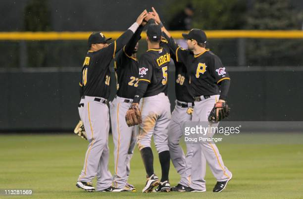 The Pittsburgh Pirates celebrate their 30 victory over the Colorado Rockies at Coors Field on April 29 2011 in Denver Colorado