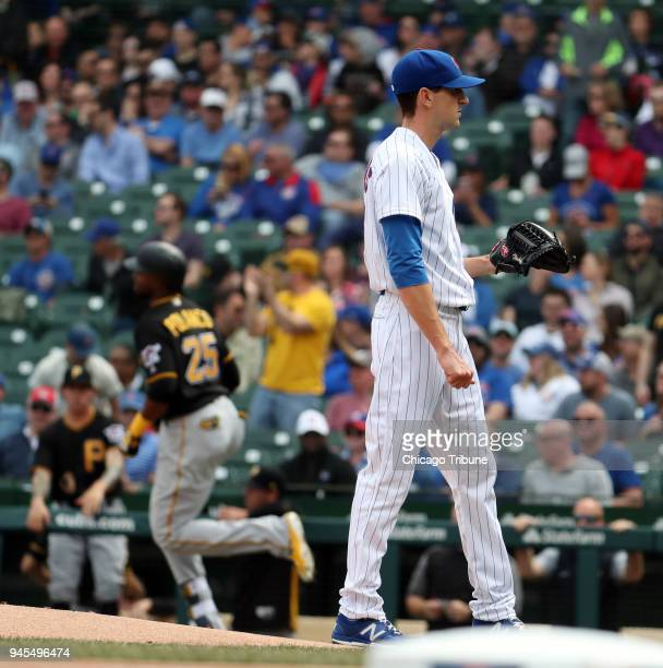 The Pittsburgh Pirates' Gregory Polanco runs out a solo home run against Chicago Cubs starting pitcher Kyle Hendricks in the first inning on Thursday...