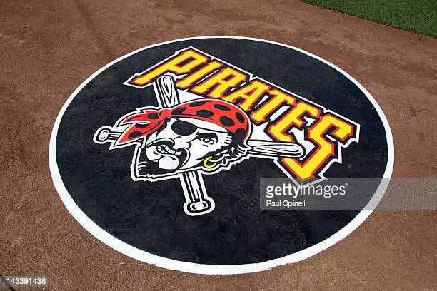 The Pittsburgh Pirates logo is used on the ondeck circle during the game against the Los Angeles Dodgers on Tuesday April 10 2012 at Dodger Stadium...