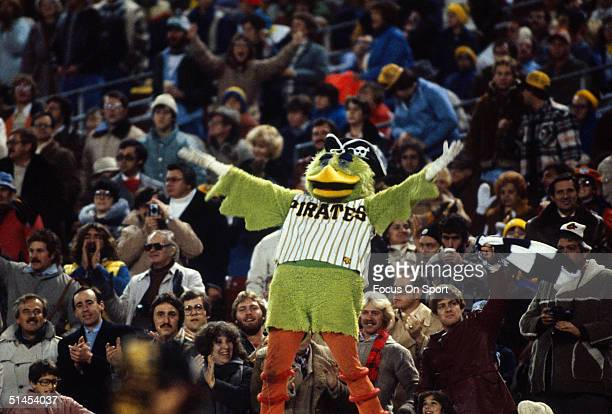 The Pittsburgh Pirates mascott stirs up the crowd during the World Series at Three Rivers Stadium on October 1979 in Pittsburgh Pennsylvania