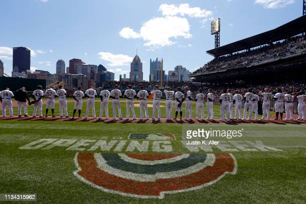 The Pittsburgh Pirates stand on the baseline before the game against the St. Louis Cardinals at the home opener at PNC Park on April 1, 2019 in...