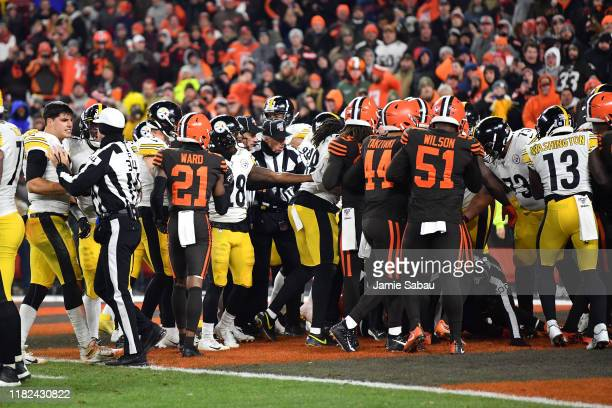 The Pittsburgh Steelers and the Cleveland Browns engage in a fight in the end zone near the end of the game at FirstEnergy Stadium on November 14...