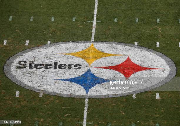 The Pittsburgh Steelers logo is seen at midfield during the game between the Pittsburgh Steelers and the Kansas City Chiefs on September 16 2018 at...
