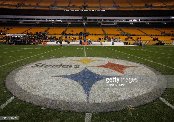 The Pittsburgh Steelers logo is seen on November 16 2017 at Heinz Field in Pittsburgh Pennsylvania