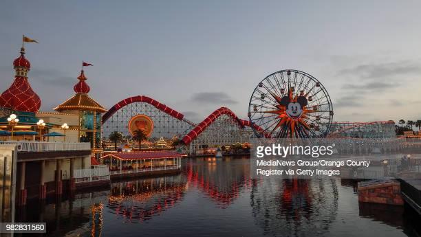 The Pixar Pier at dusk at Disney California Adventure Park in Anaheim CA on Thursday June 21 2018