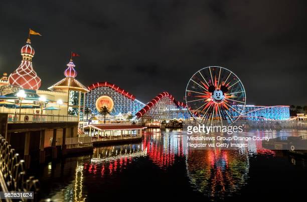 The Pixar Pier at night at Disney California Adventure Park in Anaheim CA on Thursday June 21 2018