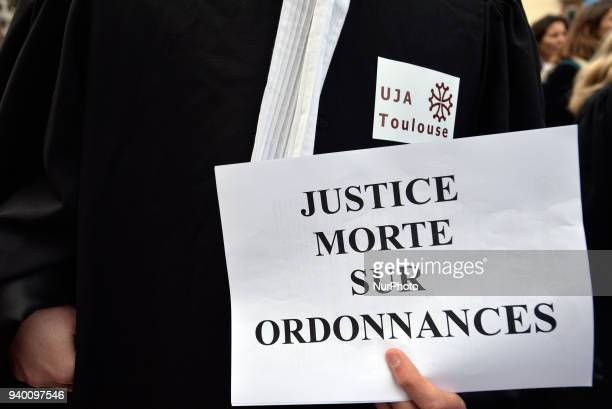 The placard reads 'Justice dead on prescription' The French Bar Association all lawyers' unions all magistrates' unions called all its members to be...