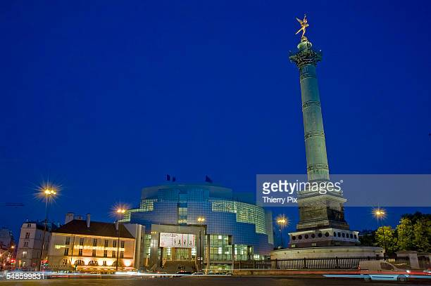 the place de la bastille at dusk - bastille stock photos and pictures