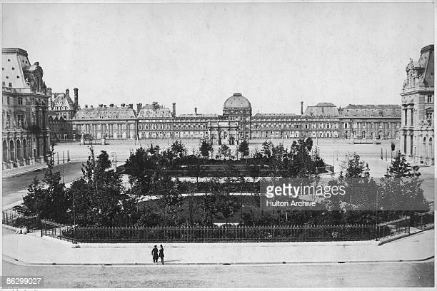 The Place du Carrousel in Paris 1856 In the background is the Palais des Tuileries in Paris with the Arc de Triomphe du Carrousel leading into it