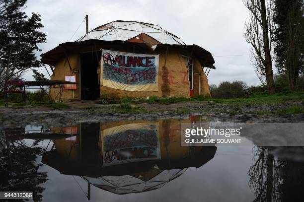 The place named 'Le Gourbi' is pictured in the ZAD on April 10 2018 in NotreDamedesLandes western France Over 2000 French police officers took part...