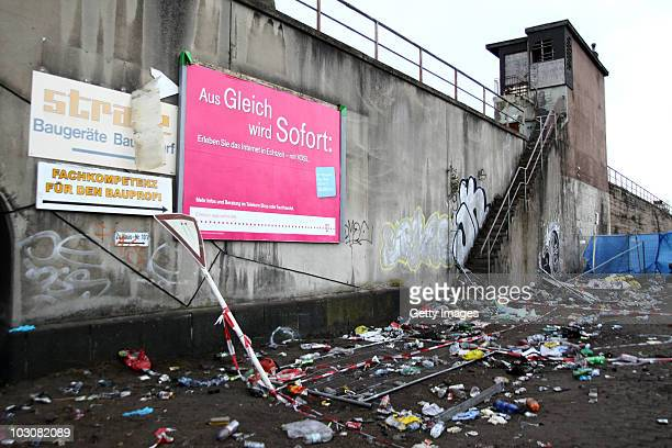 The place of accident is pictured on the day after a stampede at Germany's famous Love Parade festival killed at least 18 revellers on July 25 2010...