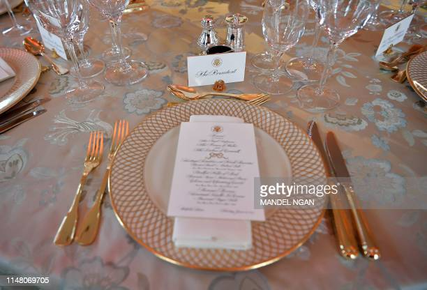 The place setting of US President Donald Trump is pictured ahead of a dinner with Britain's Prince Charles Prince of Wales at Winfield House the...