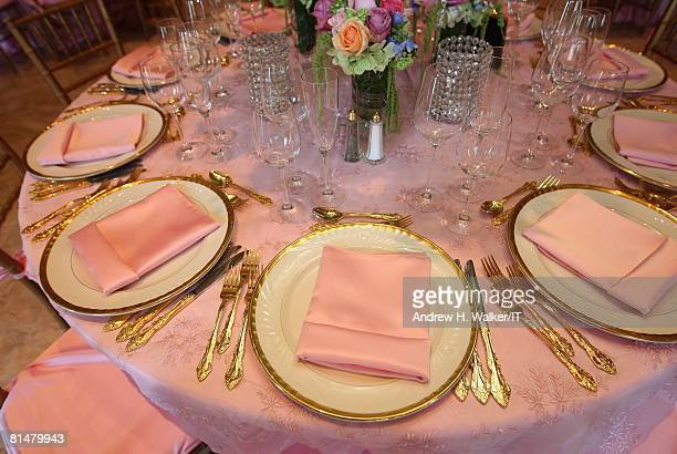 RATES The place settings at the wedding of Ivana Trump and Rossano Rubicondi at the MaraLago Club on April 12 2008 in Palm Beach Florida Cake...