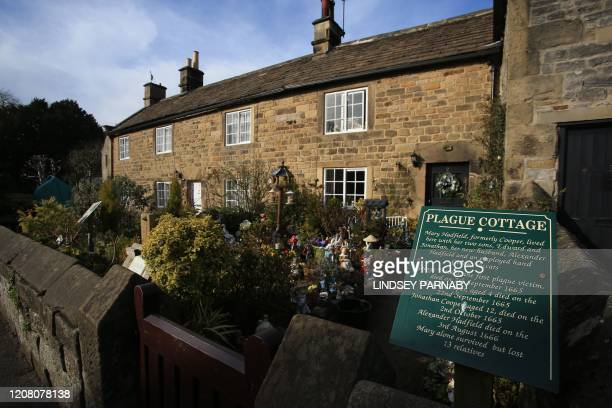 The plague cottage where families lost their lives in the 17th century Great Plague is seen in the village of Eyam in Derbyshire northern England on...
