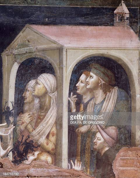 The plague, detail from St Nicholas receiving the cure for the possessed and the sick from the Virgin, scene from the Stories of St Nicholas of...