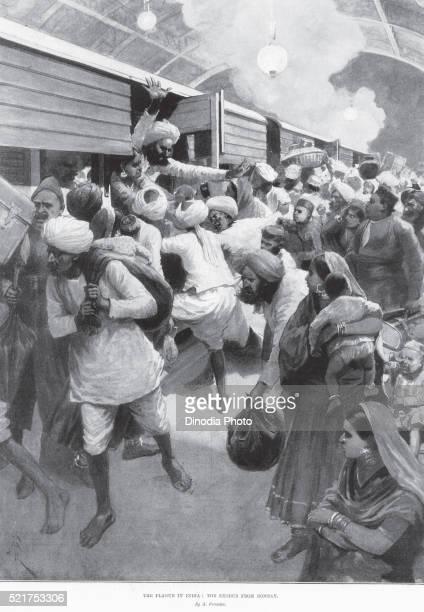 the plague epidemic, the exodus from bombay now mumbai, maharashtra, india - bubonic plague stock pictures, royalty-free photos & images
