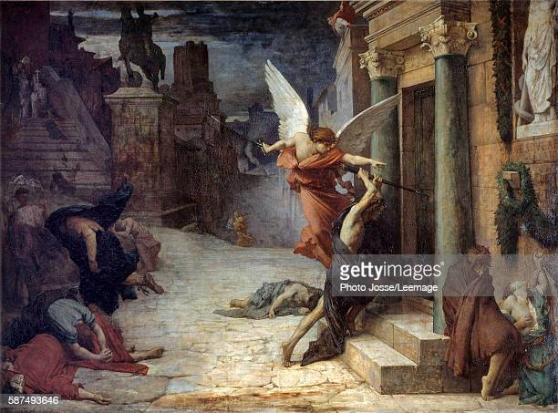 The Plague in Rome. Allegorical representation of the scourge breaking down the doors. Painting by Jules Elie Delaunay , 1869. 1,31 x 1,76 m. Orsay...
