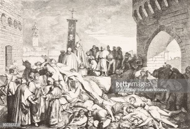 The plague of 1348 in Florence engraving based on a painting by Luigi Sabatelli from L'Illustrazione Italiana No 48 December 2 1877