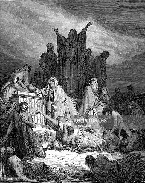The Plague of Jerusalem engraving by Gustave Doré The people of Israel suffer with the plague God sent on them as punishment 'So the Lord sent...