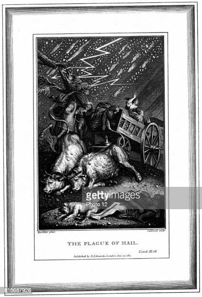 The Plague of Rain and Hail' one of the Seven Plagues of Egypt 'Bible' Exodus 918 Engraving by English designer and engraver James Caldwall after the...
