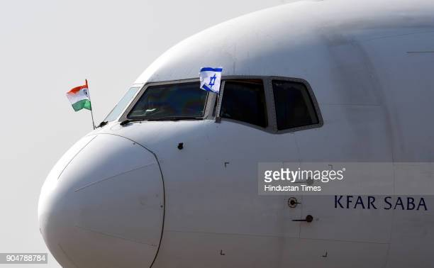 The plane carrying Israeli Prime Minister Benjamin Netanyahu and his wife Sara Netanyahu arrives at the Air Force Station at the Air Force Palam...