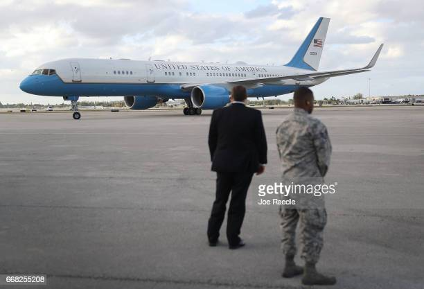 The plane carrying the First Lady of the United States Melania Trump arrives at the Palm Beach International Airport so her and US President Donald...