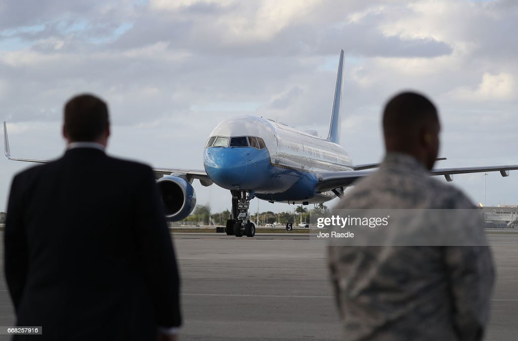 The plane carrying the First Lady of the United States Melania Trump arrives at the Palm Beach International Airport so her and President Donald Trump can spend Easter weekend at Mar-a-Lago resort on April 13, 2017 in West Palm Beach, Florida. President Donald Trump has made numerous trips to his Florida home and according to reports has cost over an estimated $20 million in his first 80 days in office.