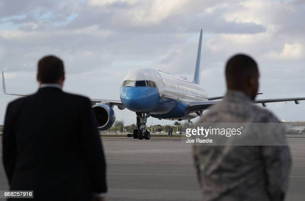 The plane carrying the First Lady of the United States Melania Trump arrives at the Palm Beach International Airport so her and President Donald...
