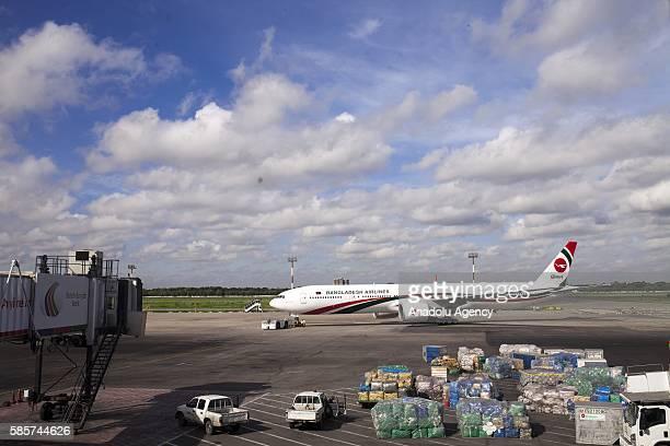 The plane is ready to take off from Dhaka to Mecca for Hajj Pilgrimage of Bangladeshi Muslims at Shahjalal International Airport in Dhaka Bangladesh...