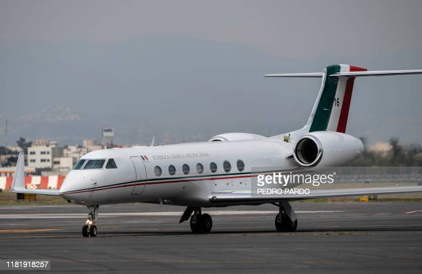 The plane transporting Bolivian ex-President Evo Morales is seen after landing in Mexico City, on November 12 where he was granted asylum after his...
