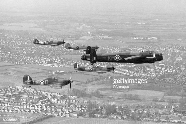 "The planes of the Royal Air Force's famous ""Battle of Britain Memorial Flight"" during their move from RAF Coltishall to RAF Coningsby. The Three..."