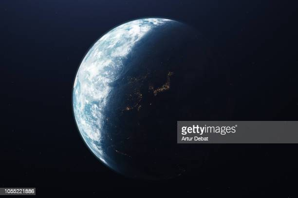 the planet earth taken from the outer space. - 地球 ストックフォトと画像