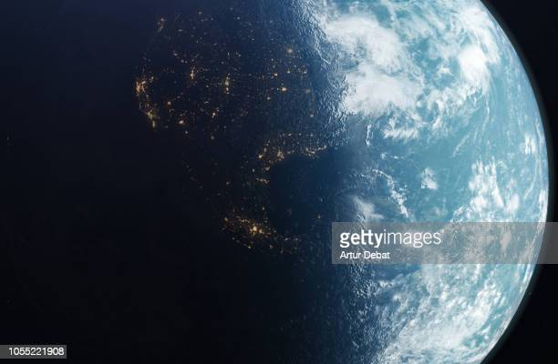 the planet earth taken from the outer space. - globo terrestre foto e immagini stock