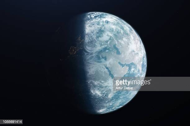 the planet earth taken from the outer space. - europa continente foto e immagini stock
