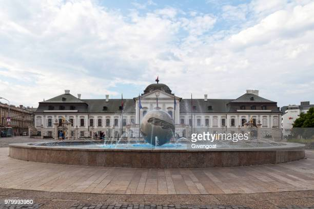 the planet of peace fountain in bratislava - gwengoat stock pictures, royalty-free photos & images