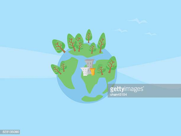 The planet with trees and buliding vector illustration for save the world.