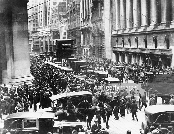 The planked surface of Wall Street was a scene of near panic here as hundreds of bewildered investors milled about after the stock market crash on...