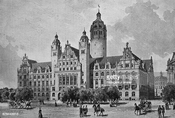 The planned new town hall of leipzig designed by city architect professor hugo licht saxony germany woodcut historical engraving europe