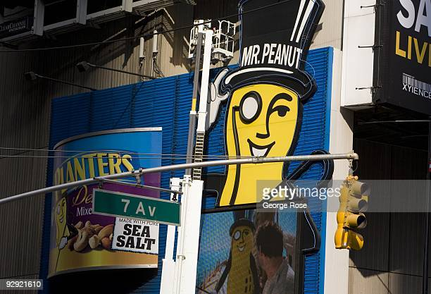 The Planter's Peanut Mr Peanut logo and billboard in Times Square is seen in this 2009 New York NY early evening cityscape photo