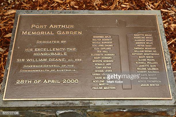 The plaque bearing the names of those who lost their lives is seen in the Memorial Garden in the Port Arthur Historical Site on April 18 2016 in Port...